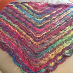 Viral Shawl Pattern on Internet. Scalloped Border. Yarn Red Heart Boutique Unforgettable. Colour Stained Glass. My 1st Viral Shawl.