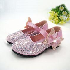 Girls Pink Rhinestone Embellished Formal Shoes