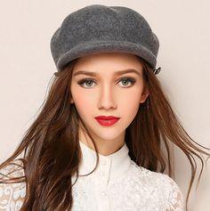 fdf61d4de69 Women plain felt newsboy cap for winter fashion warm wool hats