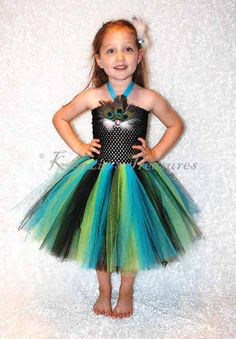 Stunning Peacock Tutu Dress and Matching Hair Clip - Size 2T to Girls Size 6 - Can Be Worn Different Ways