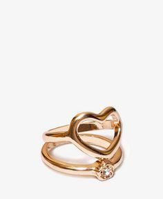 #Forever21                #ring                     #Heart #Flower #Ring      Heart & Flower Ring Set                             http://www.seapai.com/product.aspx?PID=110910