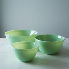 Jadeite Glass 3-Piece Mixing Bowl Set on Food52