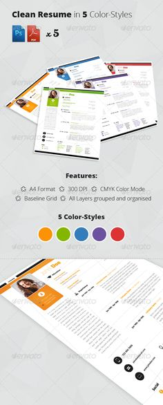 Clean Resume/CV in 5 ColorStyles #cv #resume Download : https://graphicriver.net/item/clean-resumecv-in-5-colorstyles/5350574?ref=pxcr