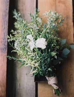 Olive and Wheat Wedding Inspiration by Laura Murray. White Astilbe, white lisianthus, bonsai eucalyptus, silver dollar eucalyptus, purple limonium, italian varigated pittosporum and white veronica