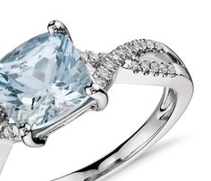 Blue Nile Riviera Pave Aquamarine Ring in 14k White Gold (1.5mm) PLMM5HBDWc