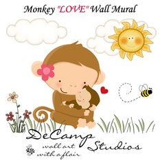 Monkey LOVE Wall Art Mural Decal for baby girl nursery or kids room decor. This adorable mural of a loving mother monkey with her baby in the spring meadow #decampstudios