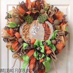 Pretty Fall Mesh Wreath!  :)