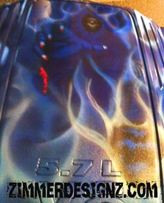 Airbrushed Reaper on Challenger Engine cover.
