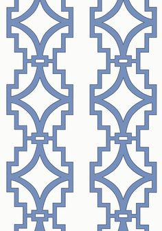 Thibaut Songyue wallpaper in blue mimics the bold shapes and designs of architectural Chinese fretwork. Songyue Embroidery is a coordinating fabric on a linen ground with delicate and ornate stitching outlining the thick trellis pattern.