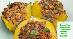 CLA is often sold as an expensive diet supplement but it is plentiful in grass fed bison and beef. Check out this post to see the other benefits and get my recipe for Grass Fed Bison and Cinnamon Stuffed Acorn Squash. Bison Recipes, Primal Recipes, Beef Recipes, Real Food Recipes, Healthy Recipes, Paleo Meals, Acorn Squash Recipes, Grass Fed Beef, Protein