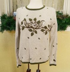 Christopher Banks Embroidered Squirrels Sweater M Classic Fun Party Cute Jeans #ChristopherBanks #Crewneck