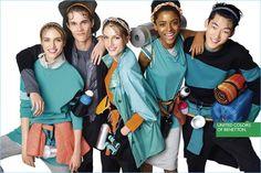 All smiles, Hedvig Palm, Simon Julius Jørgensen, Sabina Lobova, Alecia Morais, and Yong Soo Jeong front United Colors of Benetton's spring 2017 campaign.