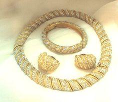 Ciner DemiParure Pave Rhinestone Necklace Bangle by bitzofglitz4u, $600.00
