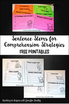 Sentence Stems for Comprehension Strategies Free Printables.These posters are perfect for printing on colored card stock or for Interactive Notebooks. - Teaching to Inspire with Jennifer Findley Comprehension Strategies, Reading Strategies, Reading Skills, Reading Comprehension, 5th Grade Reading, Guided Reading, Teaching Reading, Reading Help, Teaching Tools