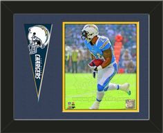 One framed 8 x 10 inch San Diego Chargers photo of Ryan Mathews with a San Diego Chargers mini pennant, double matted in team colors to 14 x 11 inches.  (Pennant design subject to change)  $59.99 @ ArtandMore.com
