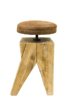 Contemporary stool / leather / solid wood / swivel FST0130 Gie El