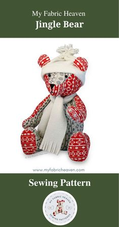Handmade Christmas, Christmas Crafts, Teddy Bear Sewing Pattern, Sewing Lessons, Sewing Toys, Diy Toys, Fabric Crafts, Diy Gifts, Craft Supplies