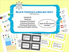 SLP beach theme | ... ...about speech therapy: Beach Themed Language Unit is Now Available