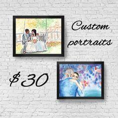 """Custom Watercolor Portraits, 8"""" x 10"""""""
