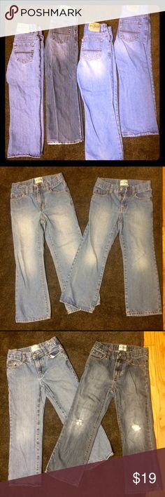 ⭐️CHILDREN'S PLACE JEANS⭐️ BUNDLE OF 4‼️ 📌FOUR pairs of Boy's Bootcut Size 6.📌Two of the pairs are in PERFECT condition.📌One pair is distressed with holes on the knees(see pic). Still looks super cute on though.📌One pair has an orange stain on the tiny pocket(see pic). My son must have shoved a crayon in there and it went in the dryer. Hardly noticeable. 📌All of them have adjustable waistbands and snap buttons. Children's Place Bottoms Jeans