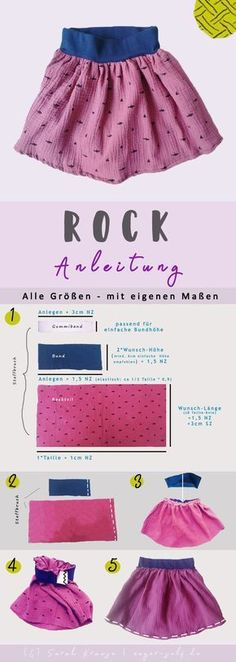 Sewing For Kids Clothes Rock nähen - Mit Bündchen - Alle Größen Baby Knitting Patterns, Knitting For Kids, Sewing For Kids, Sewing Patterns, Easy Knitting, Tricot Simple, Learn To Sew, Clothing Patterns, Skirt Patterns