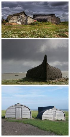 These repurposed boat sheds are located on Lindisfarne (Holy Island - England). The fishermen recycle their old boats by turning them upside down and creating storage sheds. Photo by Kevin Wakelam; photo by jones-y-gog; photo by Fiona McPhie.