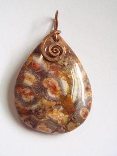 Birds Eye Rhyolite Jasper Pendant Hammered Copper by SpiralNotions, $36.00