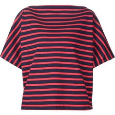 Jil Sander striped boxy T-shirt (€395) ❤ liked on Polyvore featuring tops, t-shirts, red, blue cotton t shirts, striped tee, boxy tee, cotton tee and red tee