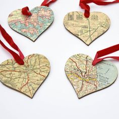 DIY Christmas Map Heart Ornaments.