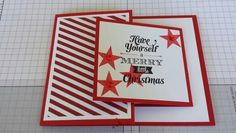 Merry little christmas stampin up card I made. Season of style dsp and simply stars stamp set. Fun folds card ~ stamp with Rachel ~