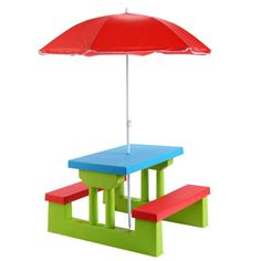 Shop for Costway 4 Seat Kids Picnic Table w/Umbrella Garden Yard Folding Children Bench Outdoor. Get free delivery at Overstock - Your Online Toys & Hobbies Store! Get in rewards with Club O! Picnic Table With Umbrella, Picnic Table Bench, Outdoor Picnic Tables, Table And Bench Set, Kids Table And Chairs, Kid Table, Play Table, Outdoor Toys
