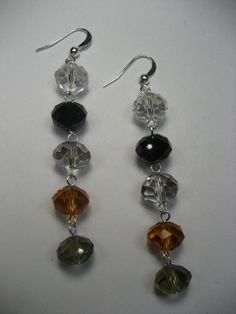 3 Cascading Rondelle Crystal Earrings  Multicolored by rockmybeads, $13.00