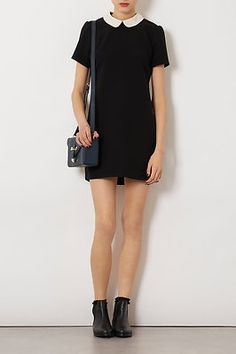 TOPSHOP BLACK CONTRAST COLLAR SHIFT DRESS!