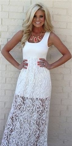 Beautiful shinning white lace maxi dress fashion... click on picture to see more
