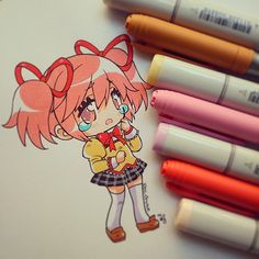"""PAINTED with pencil bic and copic sketch""  No se si haré a las demás, todo depende de la inspiración (?) #madokakaname #mahoshojomadokamagica #chibi #kawaii #tears #sad #tristeza #magicgirl #traditional #copicsketch #copicmarker #instaanime #instadraw #penbic"