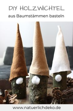 Make gnomes out of wood Crafting instructions for cute elves from tree trunks with felt hat. Boy Diy Crafts, Diy Crafts For Kids Easy, Christmas Elf, Christmas Crafts, Christmas Decorations, Xmas, Diy Room Decor For Girls, Navidad Diy, Diy Store