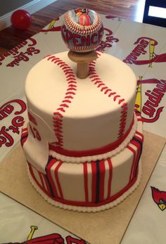 Baseball Cake - Cardinals themed shower cake with chocolate and vanilla cake, Italian buttercream filled, ganache and fondant coating.