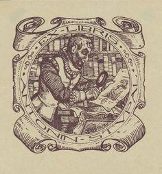 Lhota, Josef (1895-1982): Ex-Libris Antonin Stupal. Renaissance-Herr, mit Lupe Graphik betrachtend, dahinter Bücher in Kartusche.