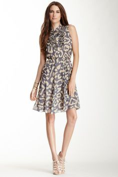 ef4cbc87ab Ruffle Yoke Sleeveless Printed Dress by paperwhite Collections on   HauteLook Casual Chic Style