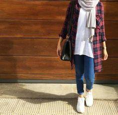 Ways a hijabi can flannel shirt with  denim – Just Trendy Girls