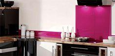 kitchen- black, pink, white, natural wood