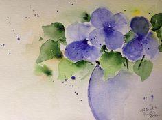 Aquarell  Blumenstrauß  Blumen Natur  17 x 24 cm