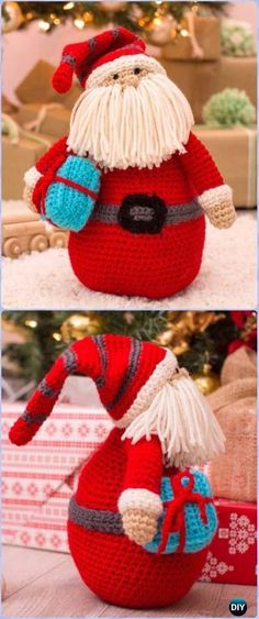 CrochetHuggable Santa Pillow - migurumi Crochet Christmas Softies Toys Free Patterns
