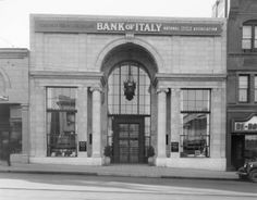 1928 - View of the Bank of Italy now The Bank of America at 160 East Colorado Blvd, Pasadena, CA