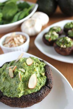 Spinach Avocado Portobellos : http://veganyumminess.com/spinach-avocado-stuffed-portabellos/