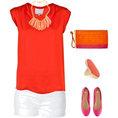 """Pink and Orange - Spring"" by stephaniemd7 on Polyvore"