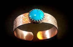 Adjustable handmade copper and turquoise cuff by 75marghe75