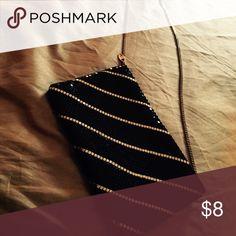 Metallic Evening Bag Black & Gold, top zip closure.  Good condition. Bags Mini Bags