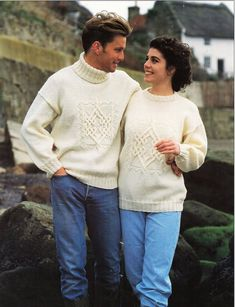 ladies / mens aran sweater knitting pattern pdf womens celtic knot cable jumper Vintage 30-44 inch aran worsted 10ply instant Download by Hobohooks on Etsy