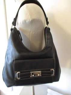 b55eb6142929 CHAPS ~ Black Pebble Finished Faux Leather Hobo Style Handbag ~ GUC  Chaps   ShoulderBag